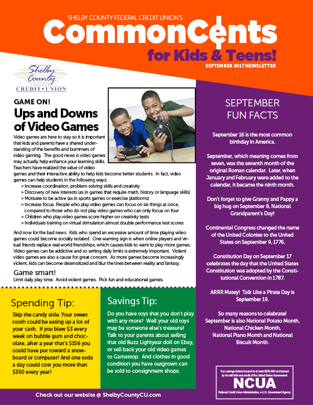 Photo of Cover of October Newsletter for Kids