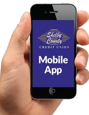 Picture of Hand Holding a Mobile Phone with Shelby County Federal Credit Union Mobile App on Screen