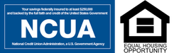 NCUA logo and Equal Opportunity Housing Logo
