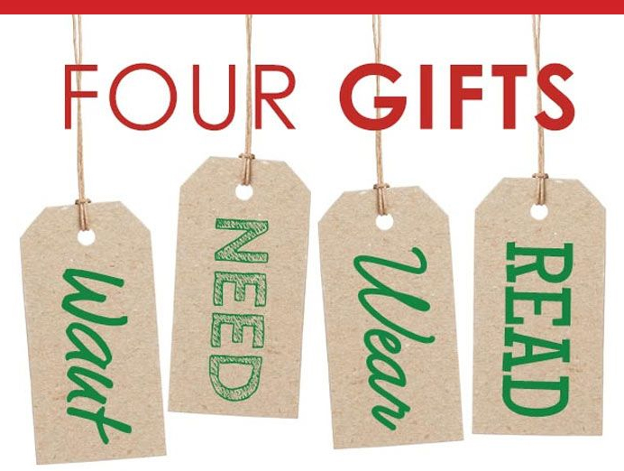 Picture of four gift tags hanging that say Want, Need, Wear, Read