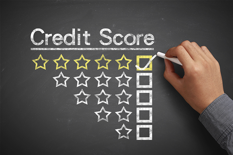 Photo of Chalkboard with Credit Score at Top and Five Star Rating Checked